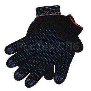 Перчатки хб с пвх черные 4 нити 10 кл 1011