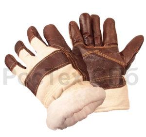 Перчатки Кожаные комбинированные на меху (крага)