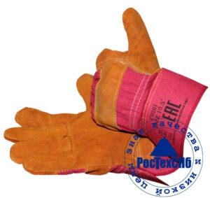 Перчатки спилковые комбинированные Русский лев